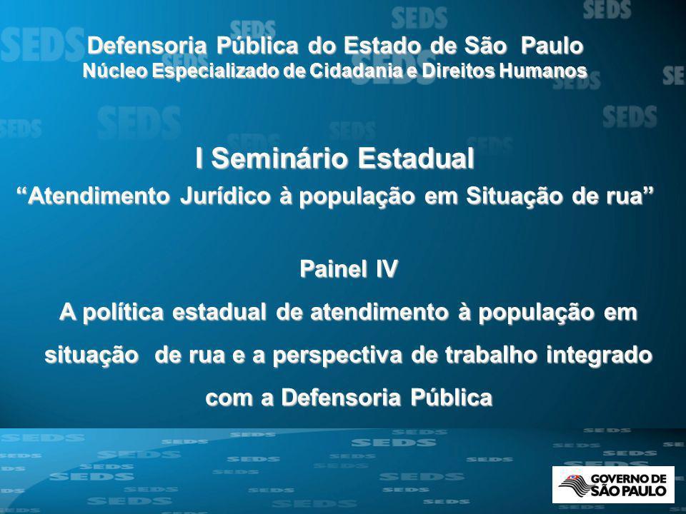 Painel IV A política estadual de atendimento à população em situação de rua e a perspectiva de trabalho integrado com a Defensoria Pública I Seminário