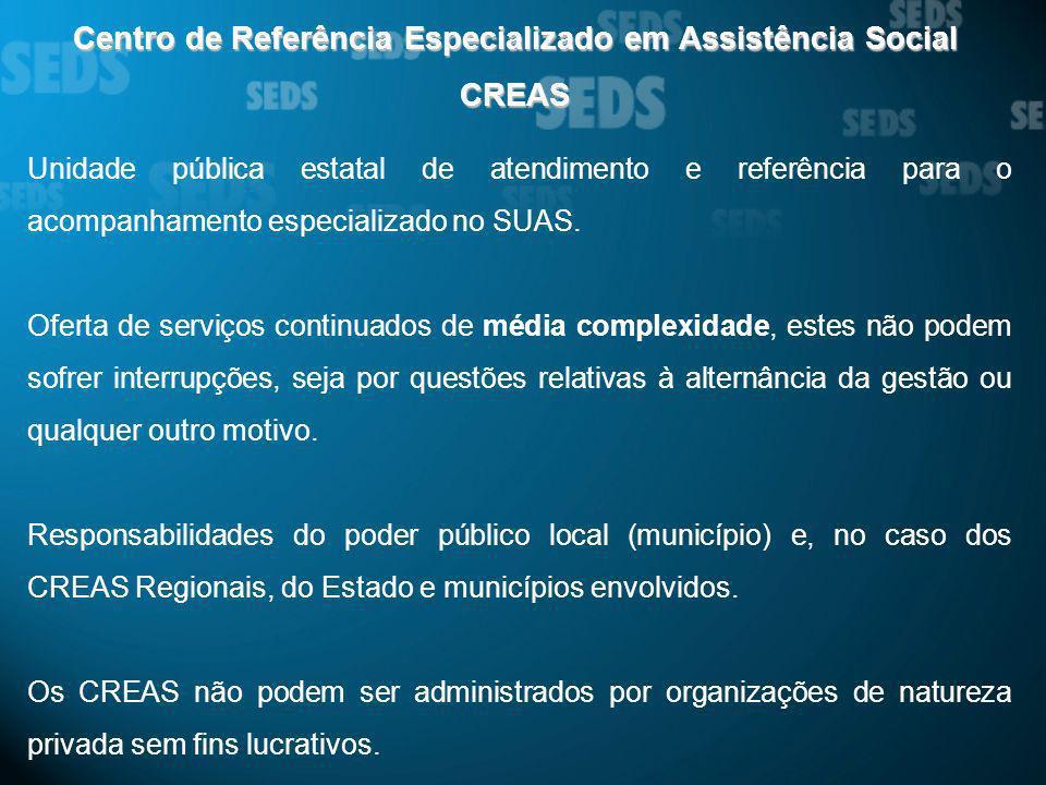 Centro de Referência Especializado em Assistência Social CREAS Unidade pública estatal de atendimento e referência para o acompanhamento especializado