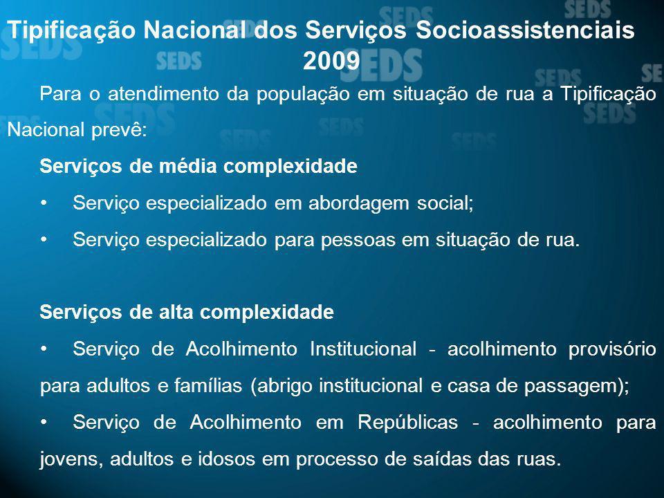 Tipificação Nacional dos Serviços Socioassistenciais 2009 Para o atendimento da população em situação de rua a Tipificação Nacional prevê: Serviços de