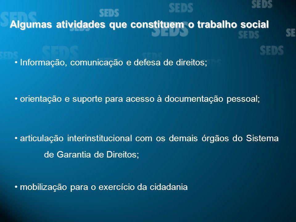Algumas atividades que constituem o trabalho social Informação, comunicação e defesa de direitos; orientação e suporte para acesso à documentação pess