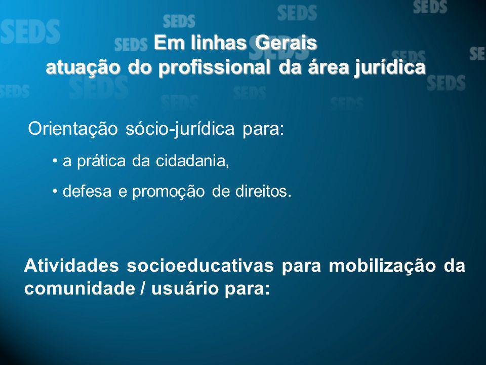 Em linhas Gerais atuação do profissional da área jurídica Orientação sócio-jurídica para: a prática da cidadania, defesa e promoção de direitos. Ativi