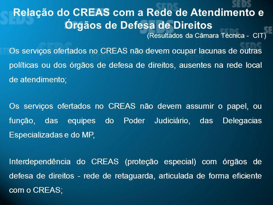 Relação do CREAS com a Rede de Atendimento e Órgãos de Defesa de Direitos (Resultados da Câmara Técnica - CIT) Os serviços ofertados no CREAS não deve