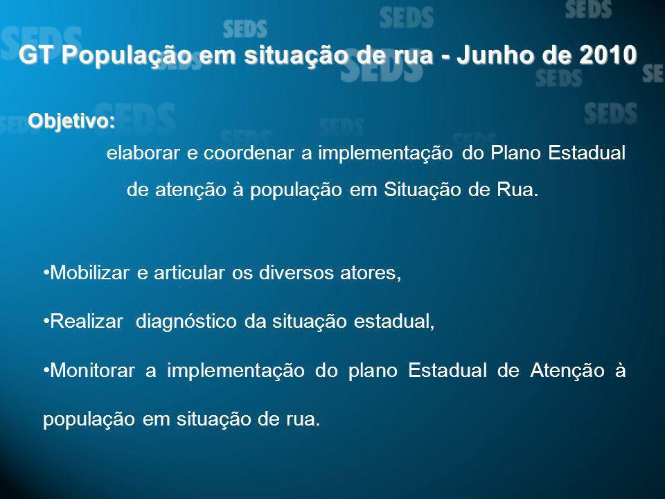 GT População em situação de rua - Junho de 2010 Objetivo: elaborar e coordenar a implementação do Plano Estadual de atenção à população em Situação de