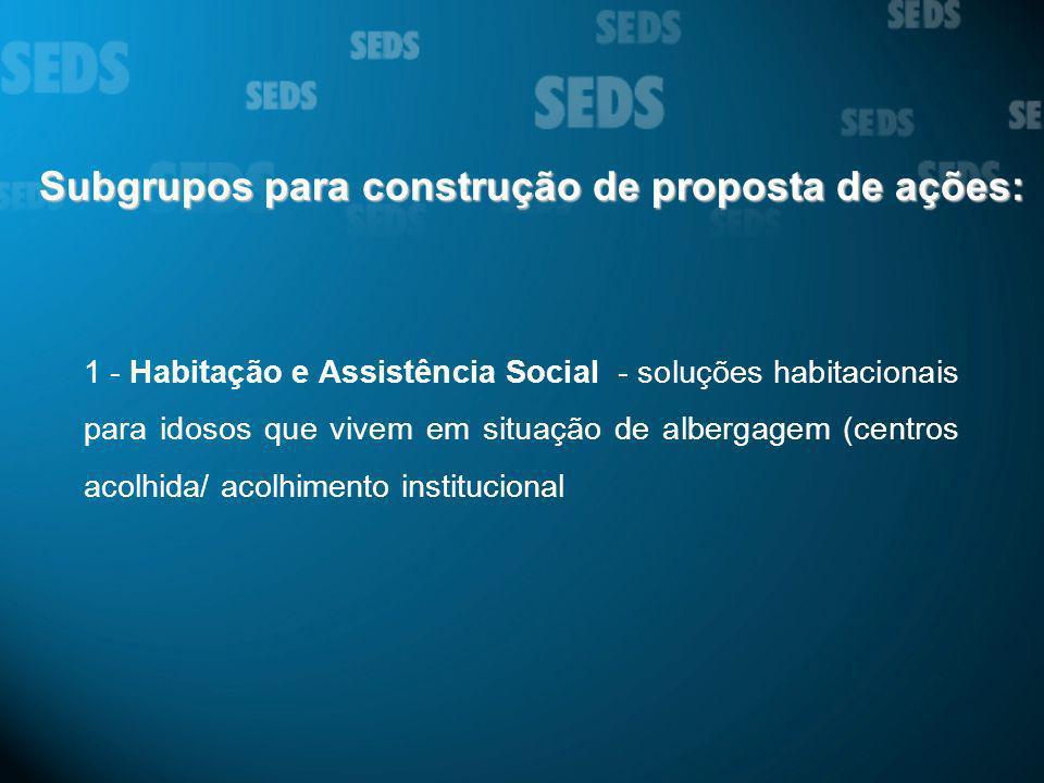 Subgrupos para construção de proposta de ações: 1 - Habitação e Assistência Social - soluções habitacionais para idosos que vivem em situação de alber
