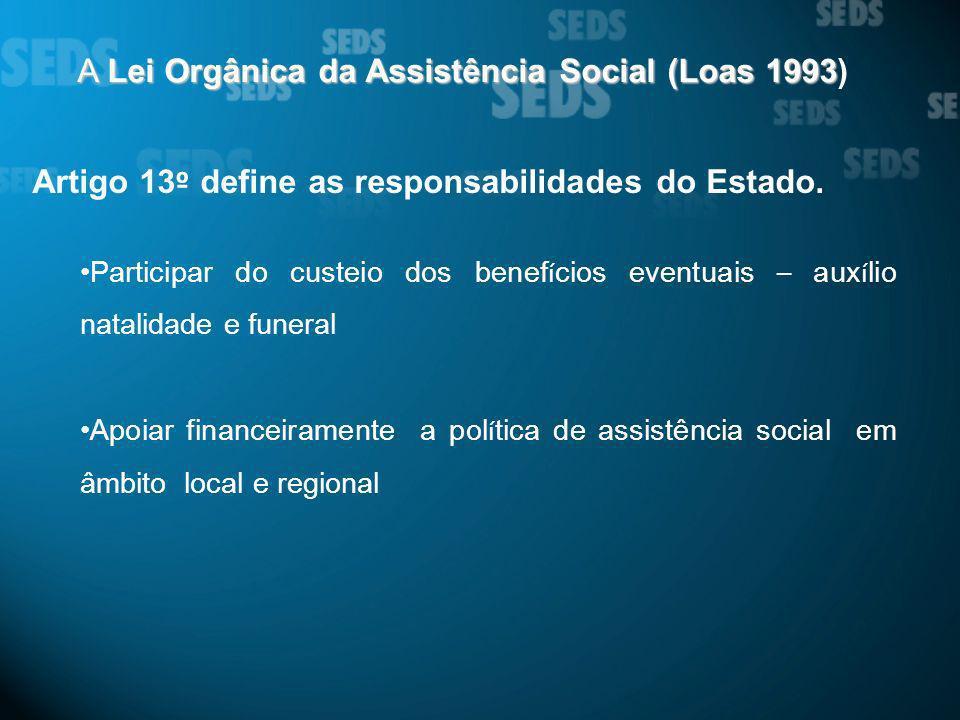 A Lei Orgânica da Assistência Social (Loas 1993 A Lei Orgânica da Assistência Social (Loas 1993) Artigo 13 º define as responsabilidades do Estado. Pa