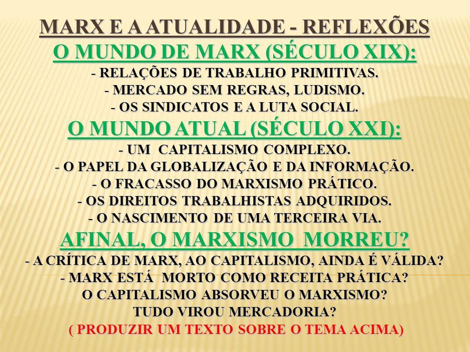 MARX E A ATUALIDADE - REFLEXÕES O MUNDO DE MARX (SÉCULO XIX): - RELAÇÕES DE TRABALHO PRIMITIVAS. - MERCADO SEM REGRAS, LUDISMO. - OS SINDICATOS E A LU
