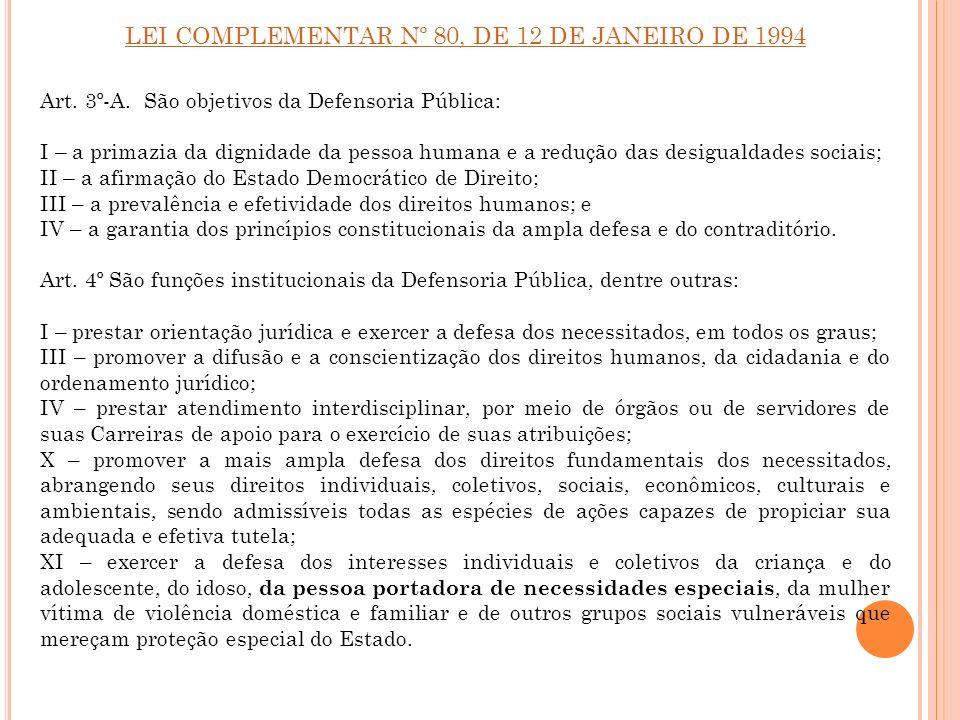 LEI COMPLEMENTAR Nº 80, DE 12 DE JANEIRO DE 1994 Art. 3º-A. São objetivos da Defensoria Pública: I – a primazia da dignidade da pessoa humana e a redu