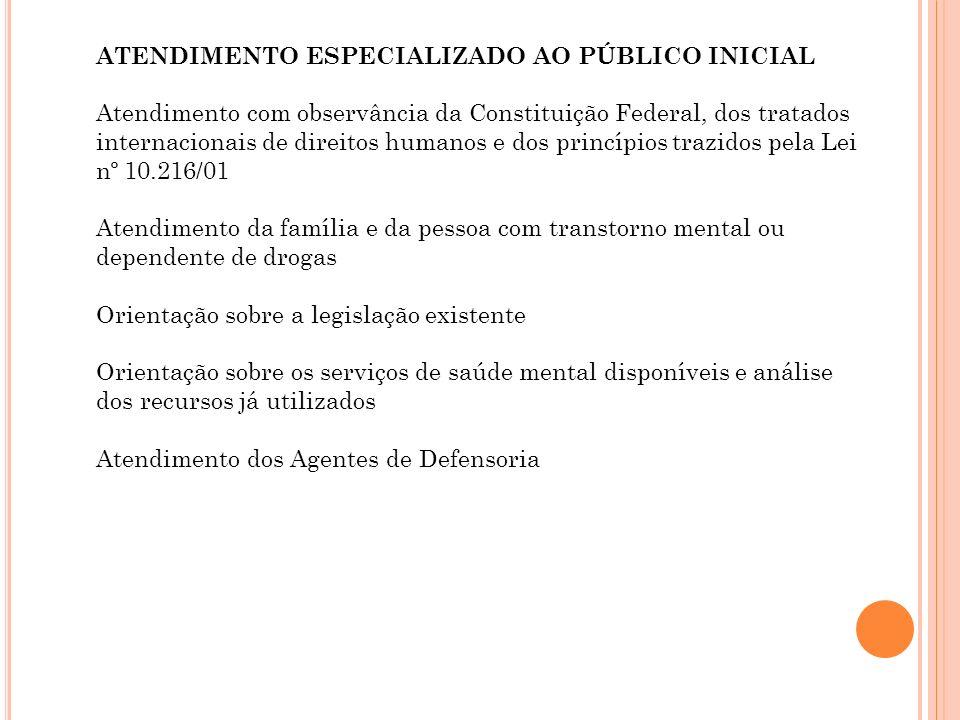 ATENDIMENTO ESPECIALIZADO AO PÚBLICO INICIAL Atendimento com observância da Constituição Federal, dos tratados internacionais de direitos humanos e do