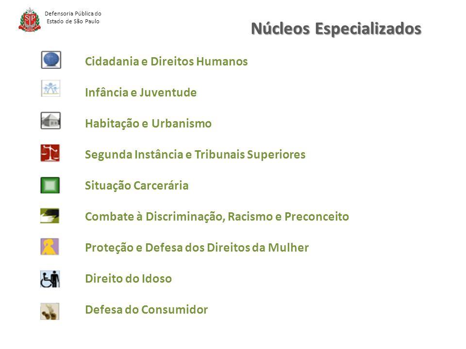 Núcleos Especializados Defensoria Pública do Estado de São Paulo Cidadania e Direitos Humanos Infância e Juventude Habitação e Urbanismo Segunda Instância e Tribunais Superiores Situação Carcerária Combate à Discriminação, Racismo e Preconceito Proteção e Defesa dos Direitos da Mulher Direito do Idoso Defesa do Consumidor