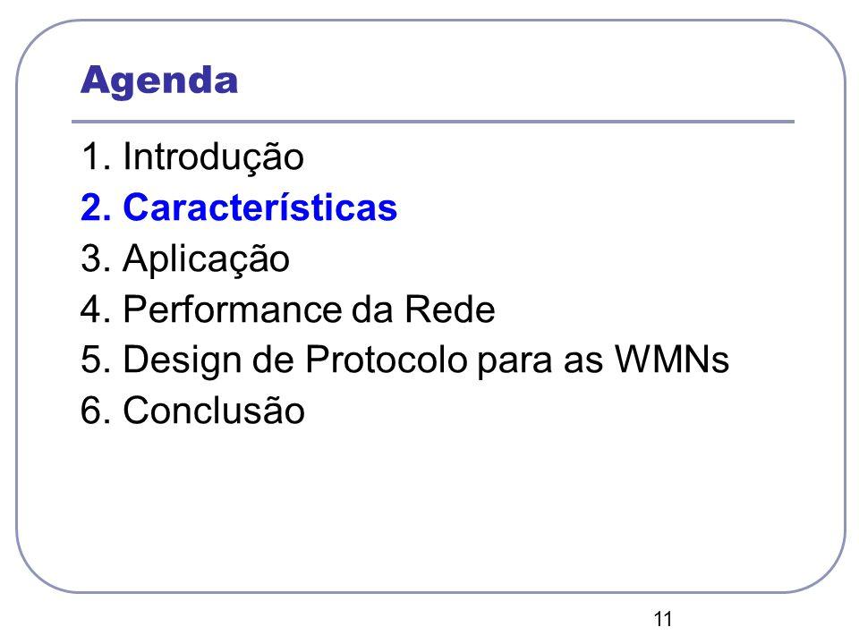 11 Agenda 1. Introdução 2. Características 3. Aplicação 4. Performance da Rede 5. Design de Protocolo para as WMNs 6. Conclusão