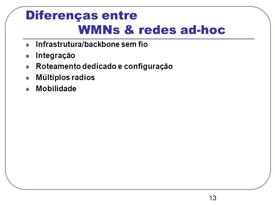 13 Diferenças entre WMNs & redes ad-hoc Infrastrutura/backbone sem fio Integração Roteamento dedicado e configuração Múltiplos radios Mobilidade