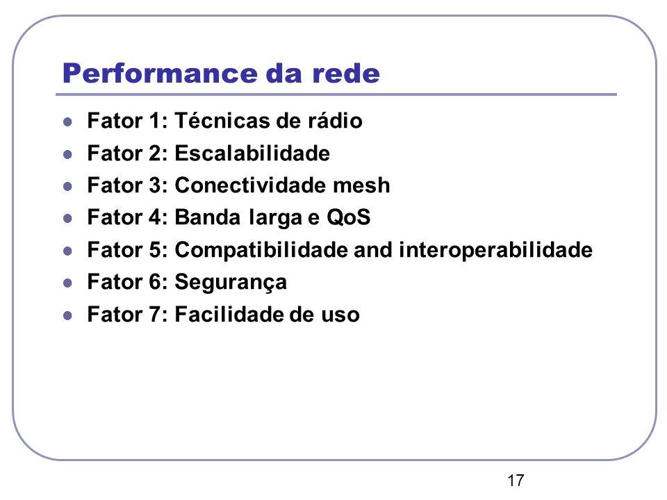 17 Performance da rede Fator 1: Técnicas de rádio Fator 2: Escalabilidade Fator 3: Conectividade mesh Fator 4: Banda larga e QoS Fator 5: Compatibilid