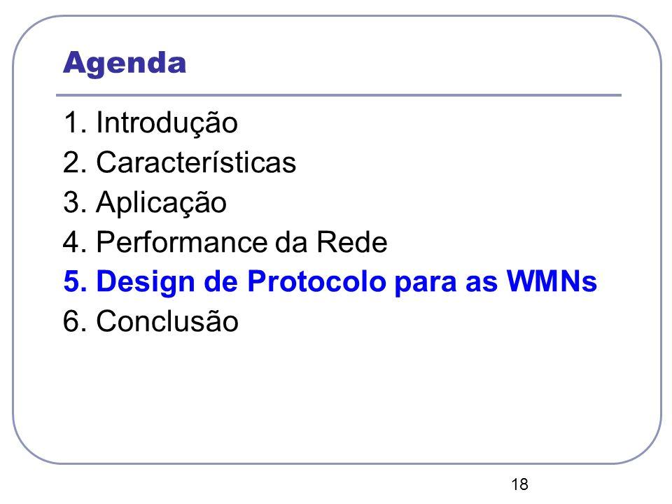 18 Agenda 1. Introdução 2. Características 3. Aplicação 4. Performance da Rede 5. Design de Protocolo para as WMNs 6. Conclusão