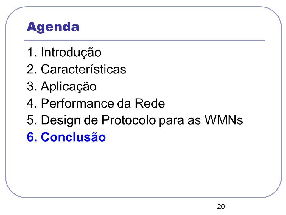 20 Agenda 1. Introdução 2. Características 3. Aplicação 4. Performance da Rede 5. Design de Protocolo para as WMNs 6. Conclusão