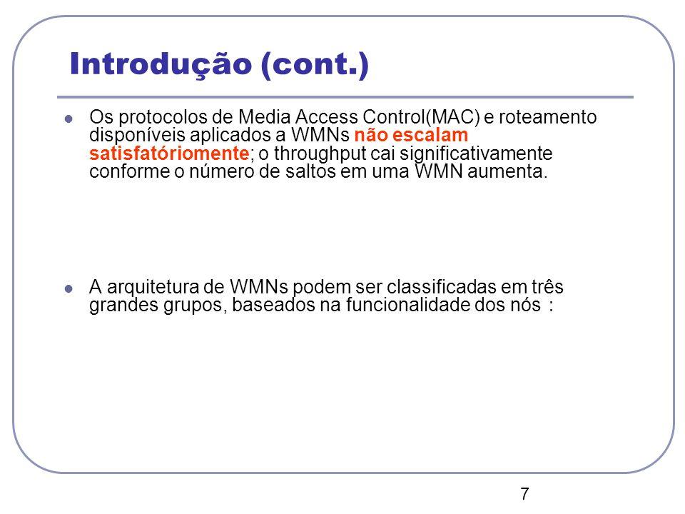 7 Introdução (cont.) Os protocolos de Media Access Control(MAC) e roteamento disponíveis aplicados a WMNs não escalam satisfatóriomente; o throughput