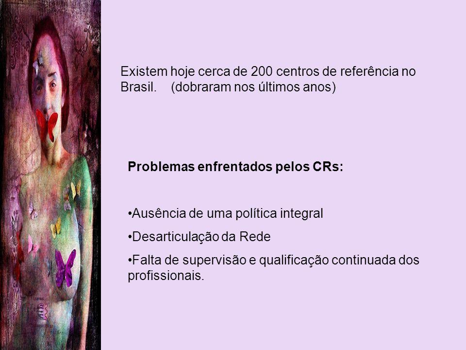 Problemas enfrentados pelos CRs: Ausência de uma política integral Desarticulação da Rede Falta de supervisão e qualificação continuada dos profission