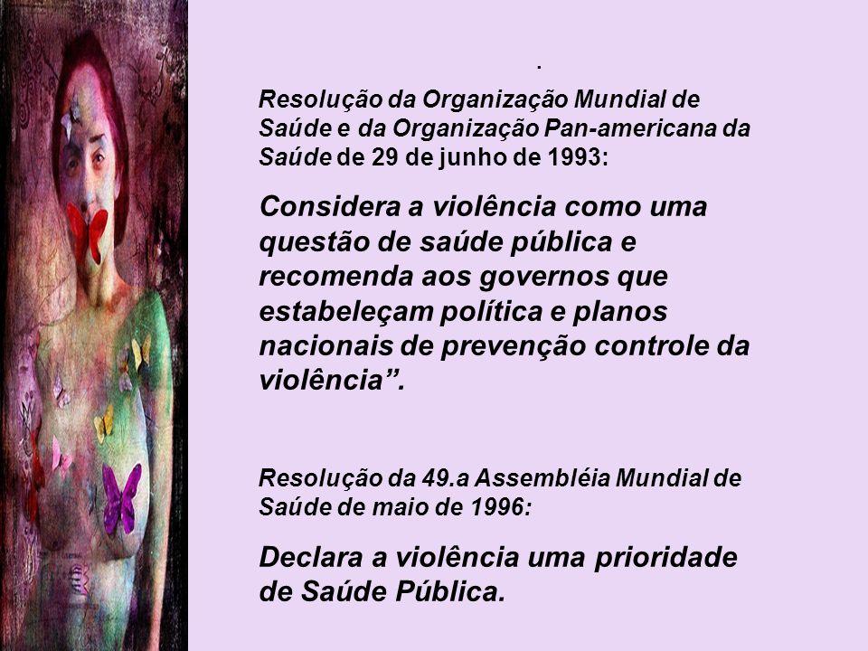 . Resolução da Organização Mundial de Saúde e da Organização Pan-americana da Saúde de 29 de junho de 1993: Considera a violência como uma questão de