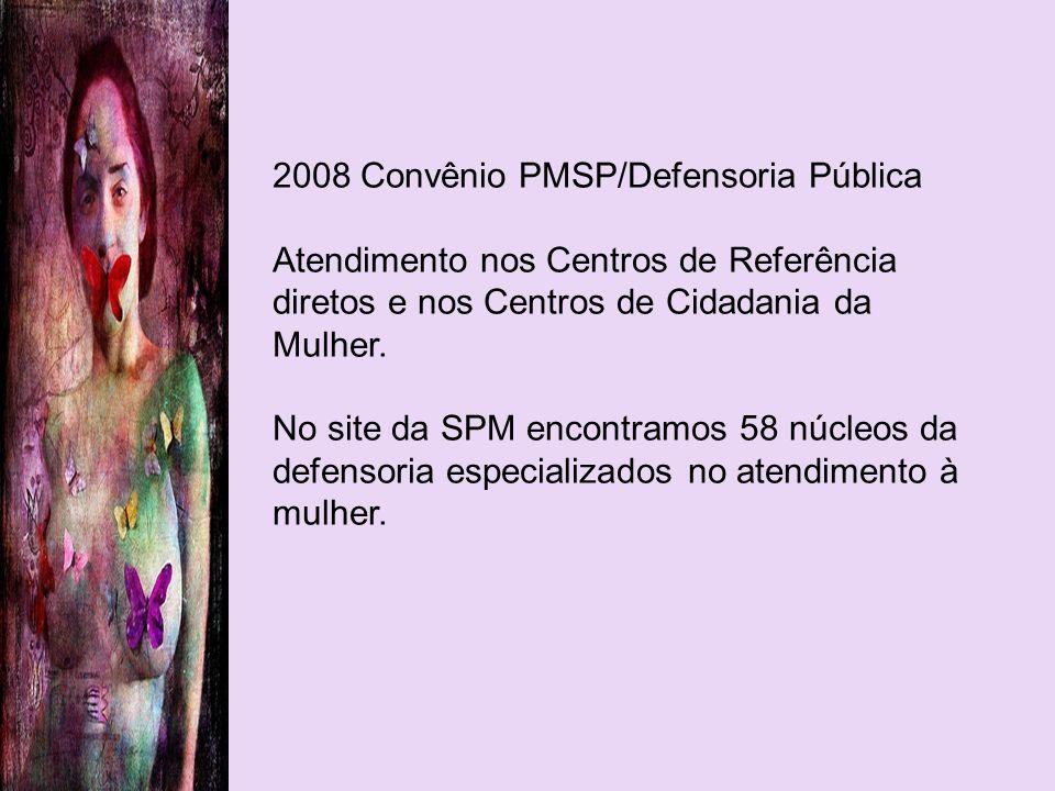 2008 Convênio PMSP/Defensoria Pública Atendimento nos Centros de Referência diretos e nos Centros de Cidadania da Mulher. No site da SPM encontramos 5
