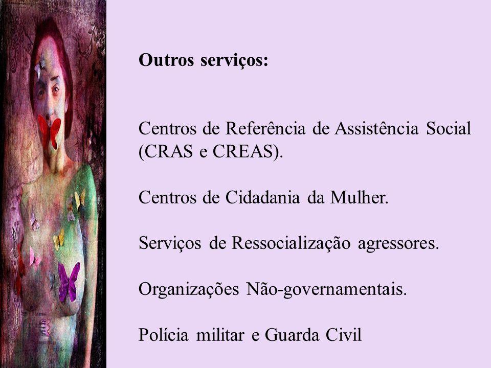 Outros serviços: Centros de Referência de Assistência Social (CRAS e CREAS). Centros de Cidadania da Mulher. Serviços de Ressocialização agressores. O