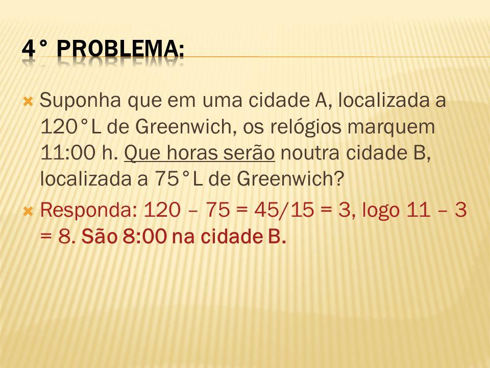 Em uma cidade X, com longitude 150°L, são 18:00 horas.