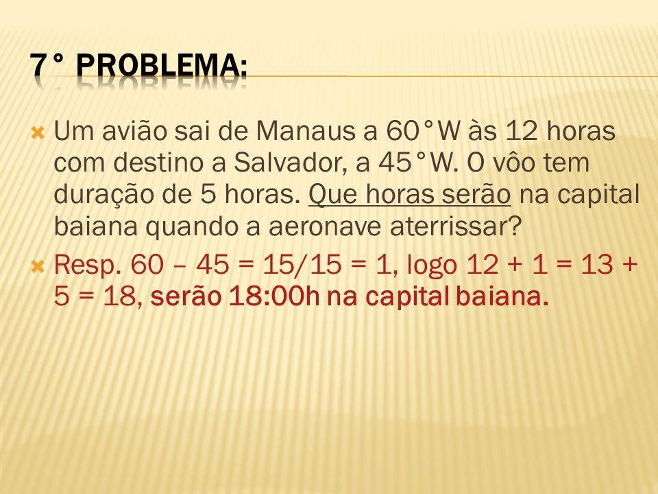 Um avião sai de Manaus a 60°W às 12 horas com destino a Salvador, a 45°W. O vôo tem duração de 5 horas. Que horas serão na capital baiana quando a aer