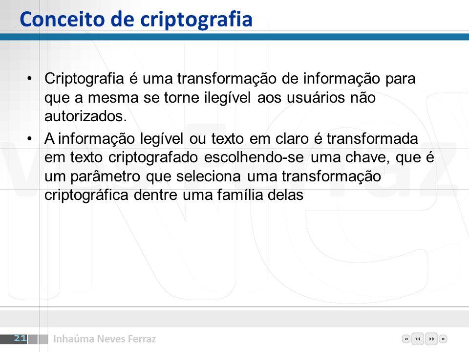 Conceito de criptografia Criptografia é uma transformação de informação para que a mesma se torne ilegível aos usuários não autorizados. A informação