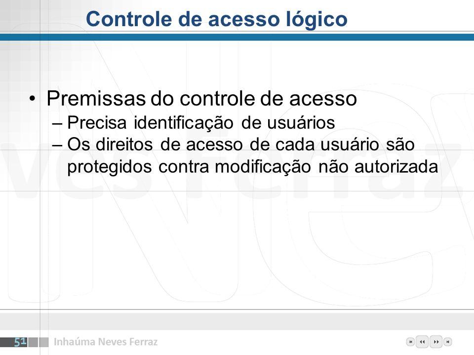Premissas do controle de acesso –Precisa identificação de usuários –Os direitos de acesso de cada usuário são protegidos contra modificação não autori