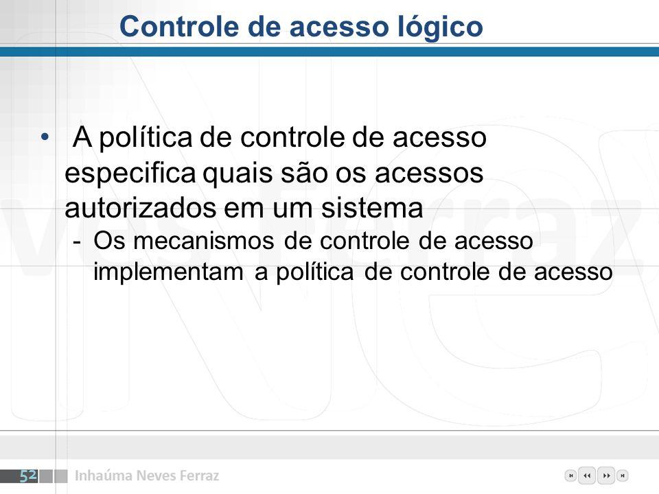 A política de controle de acesso especifica quais são os acessos autorizados em um sistema -Os mecanismos de controle de acesso implementam a política