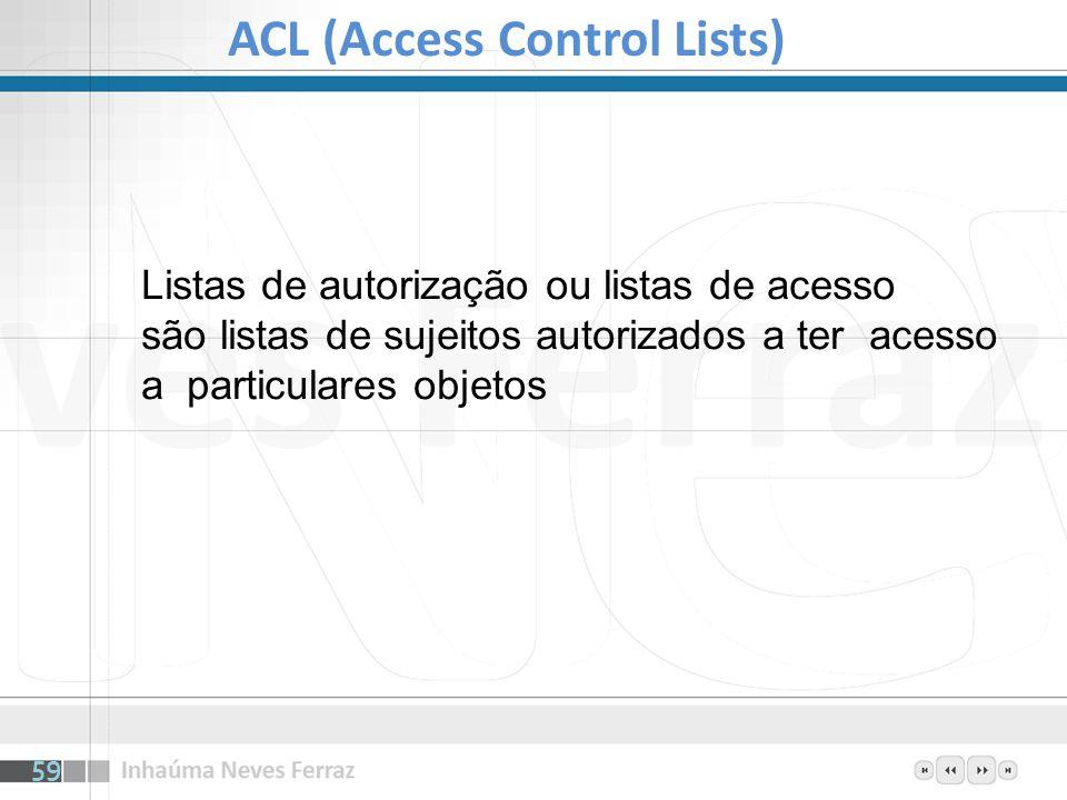 Listas de autorização ou listas de acesso são listas de sujeitos autorizados a ter acesso a particulares objetos ACL (Access Control Lists) 59