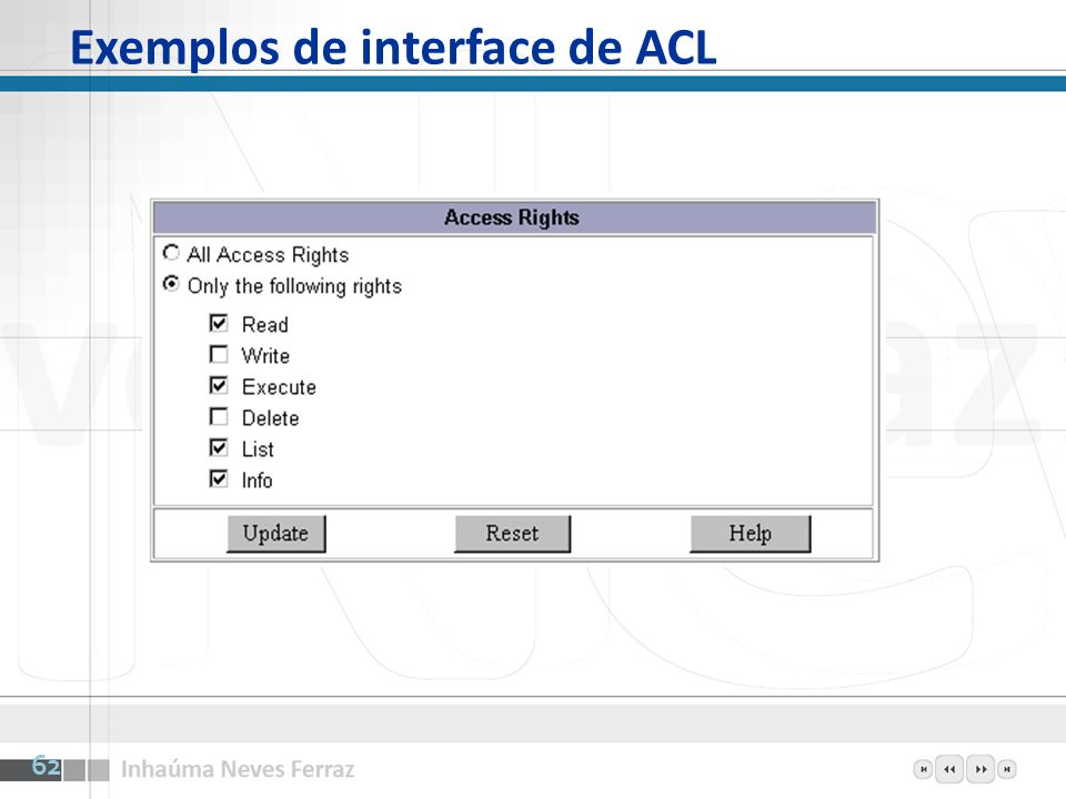 Exemplos de interface de ACL 62