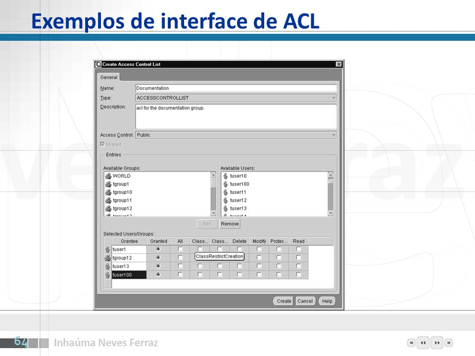 Exemplos de interface de ACL 64