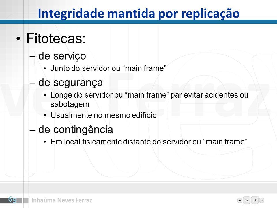 Integridade mantida por replicação Fitotecas: –de serviço Junto do servidor ou main frame –de segurança Longe do servidor ou main frame par evitar aci