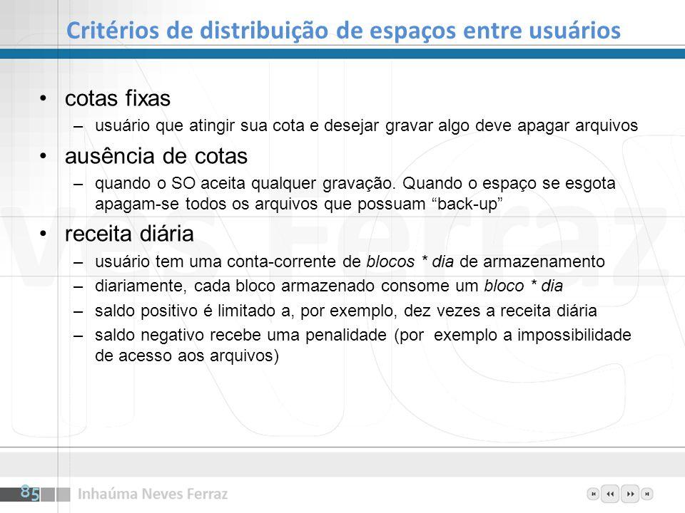Critérios de distribuição de espaços entre usuários cotas fixas –usuário que atingir sua cota e desejar gravar algo deve apagar arquivos ausência de c