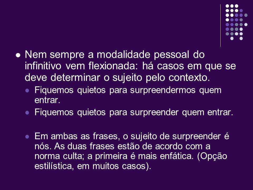 O infinitivo exprime o processo verbal sem indicação de tempo. Em português, apresenta duas modalidades: a impessoal, em que se considera apenas o pro