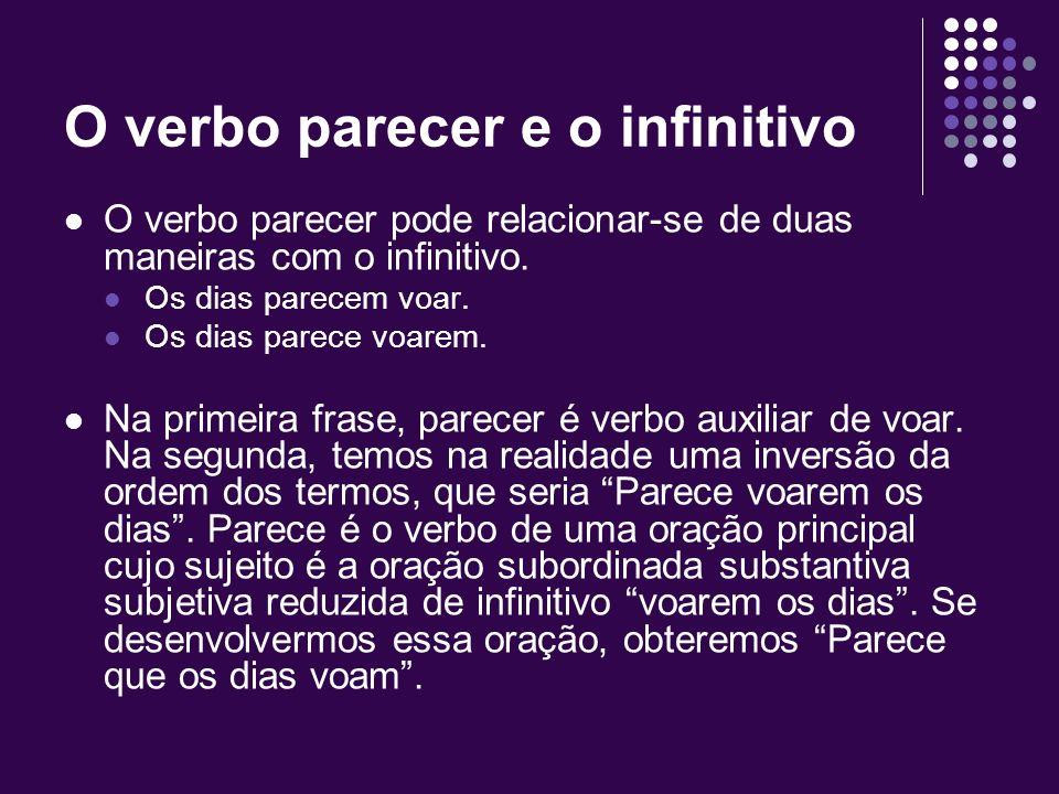 Infinitivo: outros casos Podemos usar a forma flexionada ou não-flexionada quando o infinitivo da oração reduzida que complementa um auxiliar causativ
