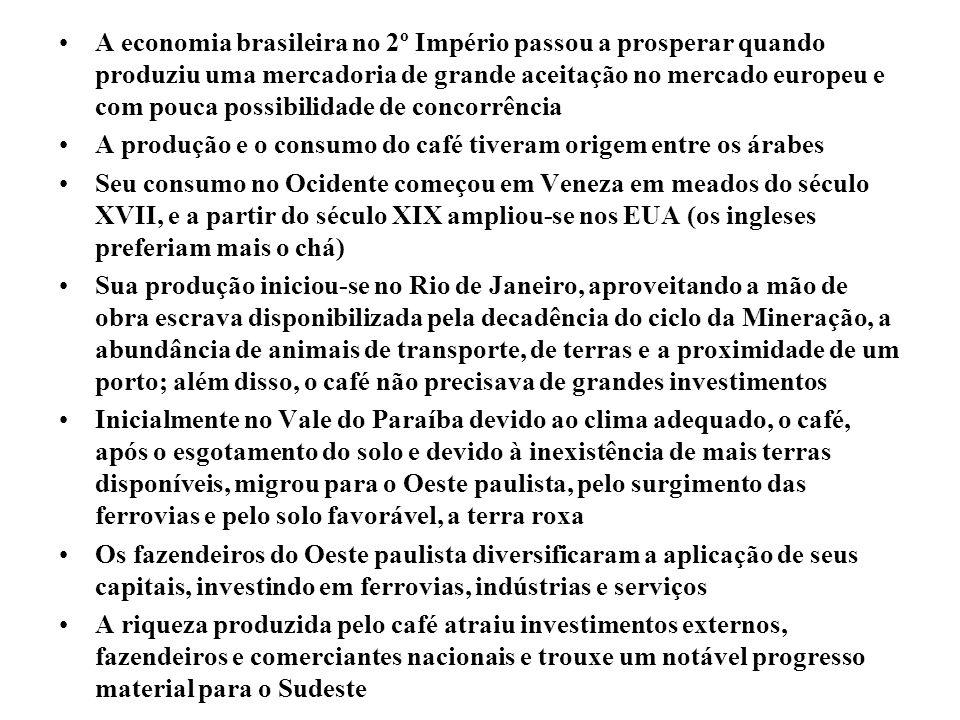 A economia brasileira no 2º Império passou a prosperar quando produziu uma mercadoria de grande aceitação no mercado europeu e com pouca possibilidade