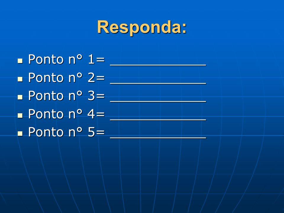 Responda: Ponto n° 1= ____________ Ponto n° 1= ____________ Ponto n° 2= ____________ Ponto n° 2= ____________ Ponto n° 3= ____________ Ponto n° 3= ___