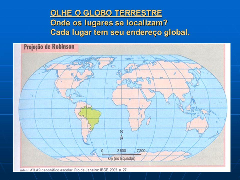 OLHE O GLOBO TERRESTRE Onde os lugares se localizam? Cada lugar tem seu endereço global.
