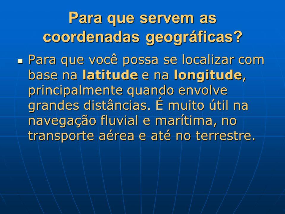 Para que servem as coordenadas geográficas? Para que você possa se localizar com base na latitude e na longitude, principalmente quando envolve grande