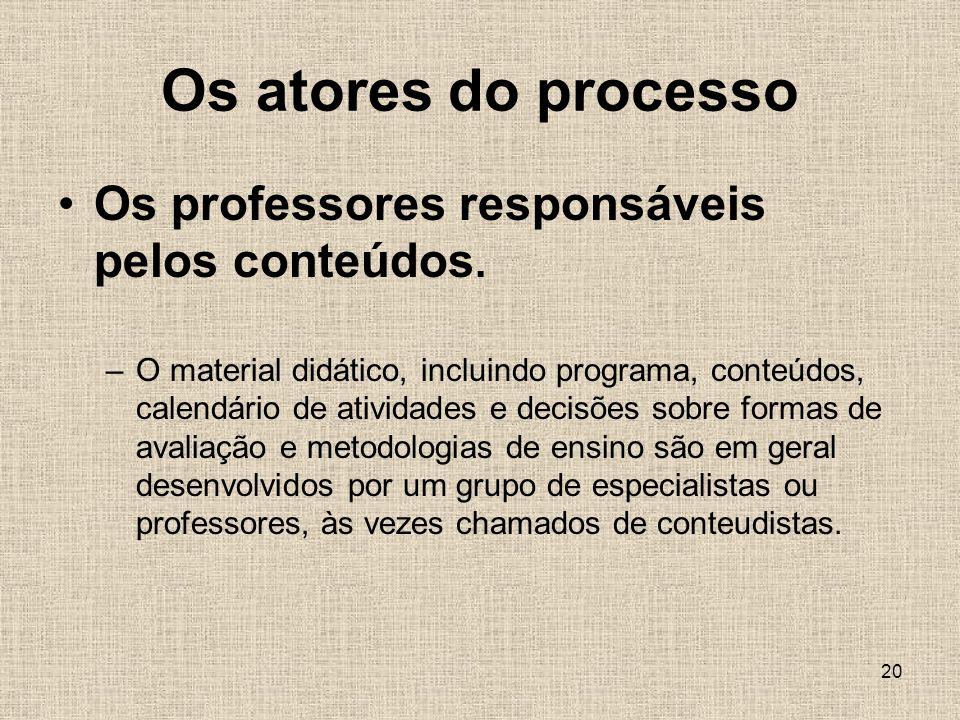 20 Os atores do processo Os professores responsáveis pelos conteúdos.