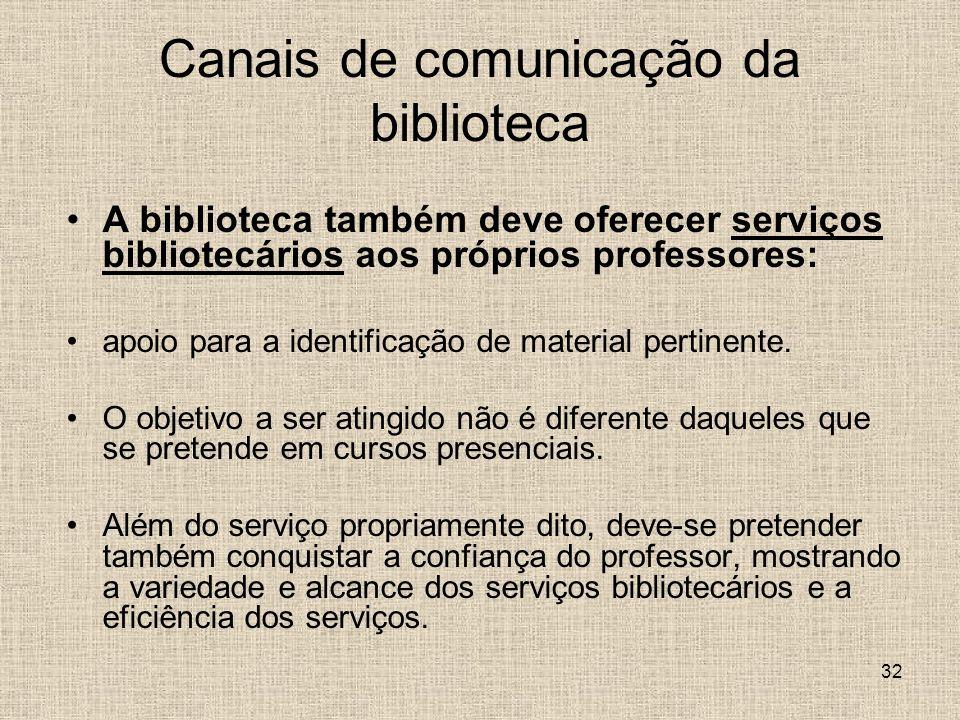 32 Canais de comunicação da biblioteca A biblioteca também deve oferecer serviços bibliotecários aos próprios professores: apoio para a identificação de material pertinente.
