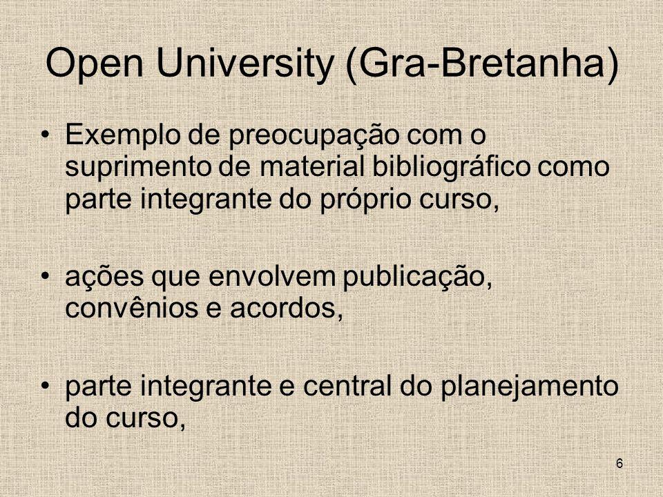 6 Open University (Gra-Bretanha) Exemplo de preocupação com o suprimento de material bibliográfico como parte integrante do próprio curso, ações que envolvem publicação, convênios e acordos, parte integrante e central do planejamento do curso,