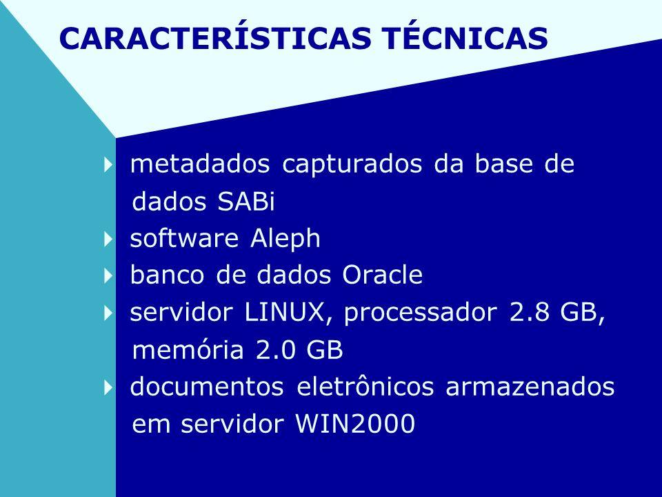 CARACTERÍSTICAS TÉCNICAS metadados capturados da base de dados SABi software Aleph banco de dados Oracle servidor LINUX, processador 2.8 GB, memória 2