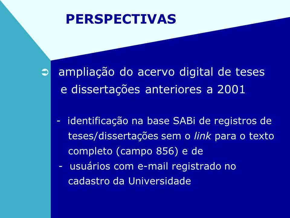 PERSPECTIVAS ampliação do acervo digital de teses e dissertações anteriores a 2001 - identificação na base SABi de registros de teses/dissertações sem