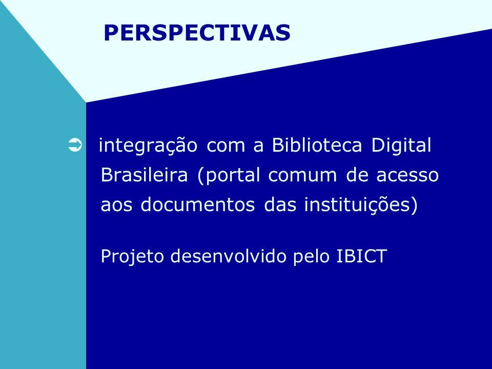 PERSPECTIVAS integração com a Biblioteca Digital Brasileira (portal comum de acesso aos documentos das instituições) Projeto desenvolvido pelo IBICT