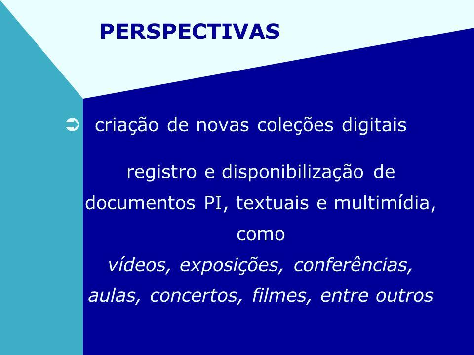 PERSPECTIVAS criação de novas coleções digitais registro e disponibilização de documentos PI, textuais e multimídia, como vídeos, exposições, conferên