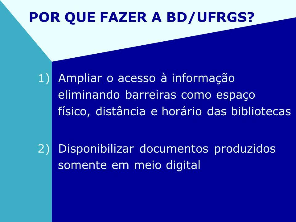 POR QUE FAZER A BD/UFRGS? 1) Ampliar o acesso à informação eliminando barreiras como espaço físico, distância e horário das bibliotecas 2) Disponibili
