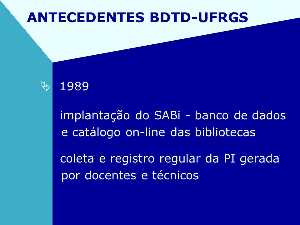 ANTECEDENTES BDTD-UFRGS 1989 implantação do SABi - banco de dados e catálogo on-line das bibliotecas coleta e registro regular da PI gerada por docent