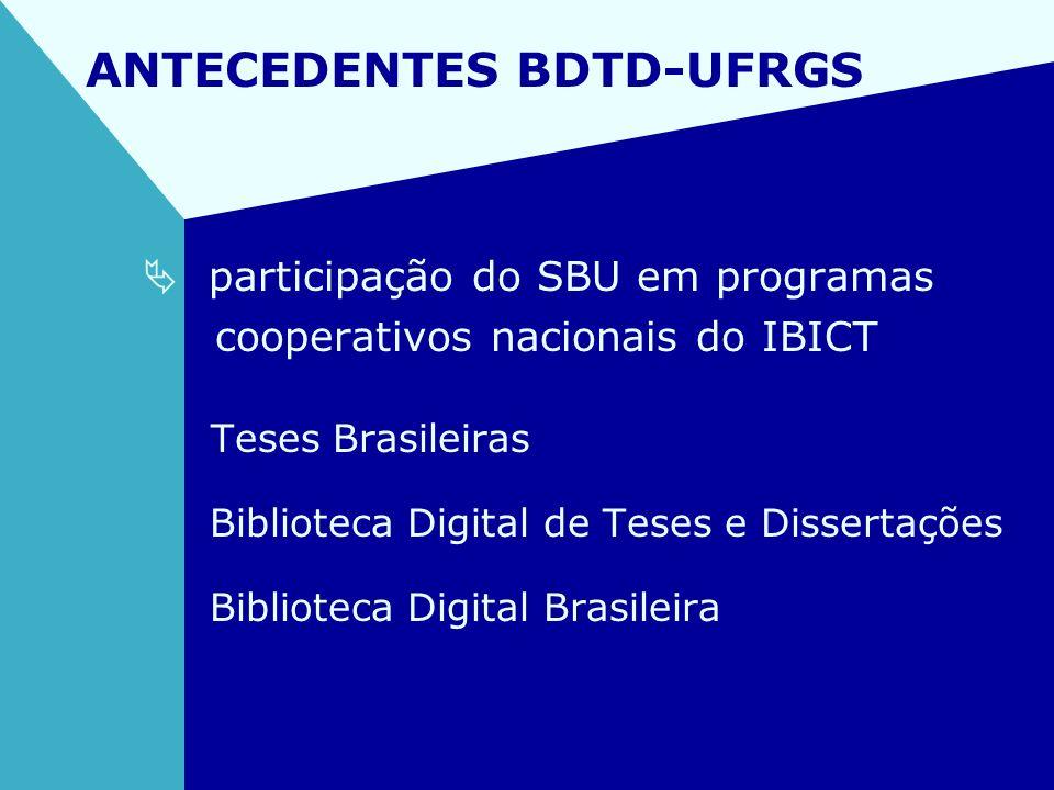 ANTECEDENTES BDTD-UFRGS participação do SBU em programas cooperativos nacionais do IBICT Teses Brasileiras Biblioteca Digital de Teses e Dissertações