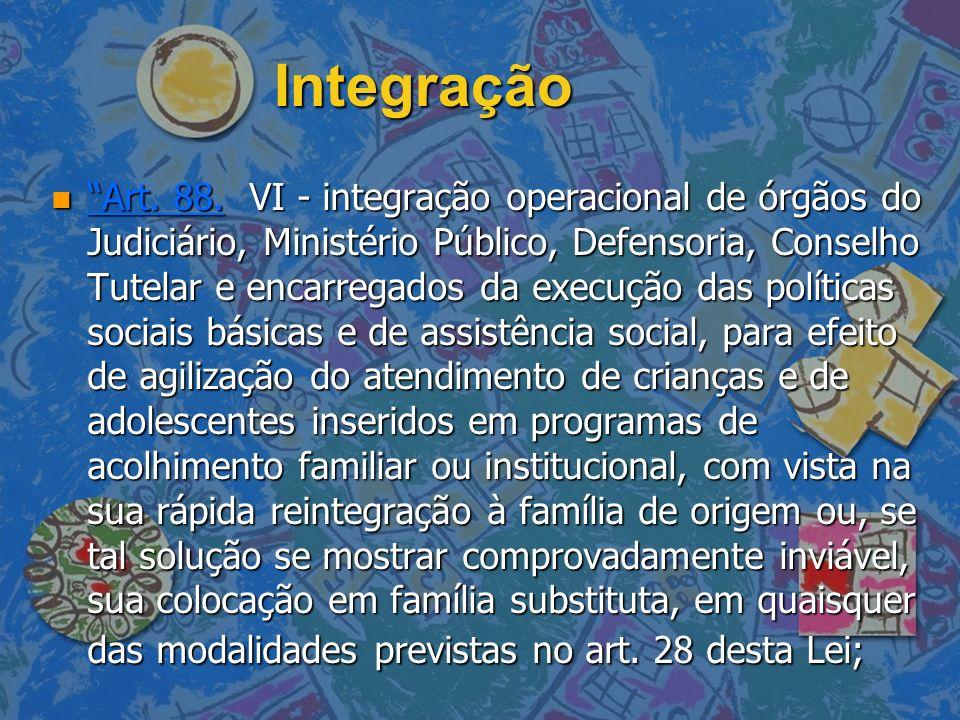Integração n Art. 88. VI - integração operacional de órgãos do Judiciário, Ministério Público, Defensoria, Conselho Tutelar e encarregados da execução